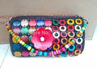 New arrival creative handbag Coconut shell Bohemian bag edition handbag purse flowers shell crafts pack
