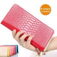 Latest 8 Colors Snake Pattern Women's Wallet Fashion Wrist Purse Women Clutch Bags Brand PU Leather Handbag WJ1036