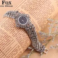 Fashion Digital Clock 925 sterling Thai Silver Classic Vintage High Quality Quartz Watches Women Wristwatches Fine Jewelry 1024S