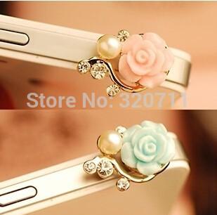 Free Ship 50pcs Korea 3.5mm Headset Crystal Pearl 3D Rose Flower Earphone Anti Dust Plug Dustproof Ear Cap for iPhone 5 4 4S(China (Mainland))