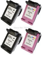 2PK Black ink cartridge +2pk Color Ink Cartridge For HP 60XL