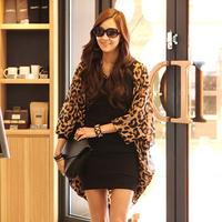 fashion blusas femininas woman's tops 2015 loose chiffon 3/4 sleeve leopard casual women blouses kimono cardigan C547