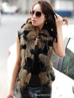 2014 women's faux PU patchwork vest faux fur vest outerwear female