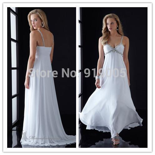 1041 Spaghetti Strap White Ruffles A-line Crystal Store Chiffon Blue Long Party Dress Prom Evening Dresses 2014