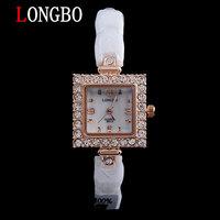 LONGBO brand fashion lady white 100% ceramic Rhinestones square dial quartz watch 30m waterproof watch