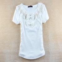 2014 NEW women's cartoon double layer lotus leaf big bowknot bow slim 100% cotton short-sleeve T shirt SZB-820