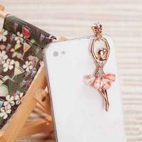 Crystal Dancer 3.5mm Mobile Cell Phone Earphone Jack Dust Cap Plug for Phone SP067
