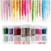 12pots/box Different Colors HOLOGRAPHIC GLITTER POTS FINE HIGH QUALITY HUGE RANGE OF COLOURS NAIL ART CRAFT , 10g/pot