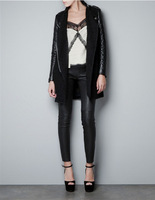Hot Sale 2014 Autumn Women's Fashion Cool Long Sleeve Coat Quilted Asymmetric Zip Jacket  Winter Coat  Woolen Slim Jacket A 095