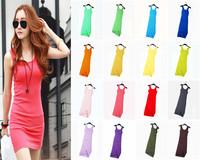 2014 New Fashion 12 Color  Casual Cotton Elastic Sexy Bodycon Long Tank Top Women Summer Dress A101020