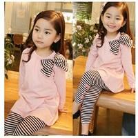 2014 New lovely girls Spring autumn clothes sets Children bowtie T-shirt+ pants kids wear