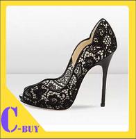 Free shipping 2014 high-heeled shoes black sexy lace open toe high-heeled shoes women's shoe