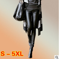 Free Shipping Top Quality 2014 Winter Leather Patchwork Leggings Super Slim Fit PU Leggings Trousers Pencil Pants For Women