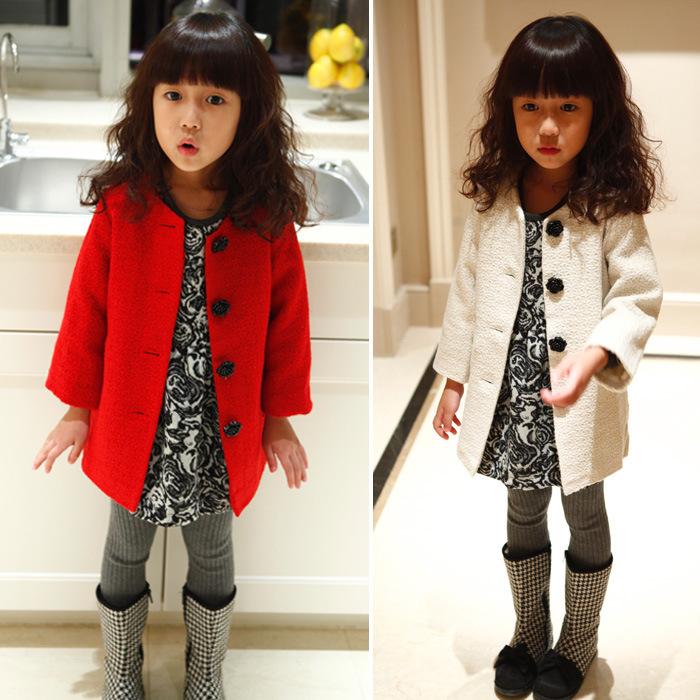 2014 Autumn Rose button coat jacket children's clothing for girls(China (Mainland))