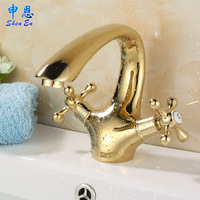 Gold faucet fashion copper bathroom american style double basin hot and cold basin gold plated antique