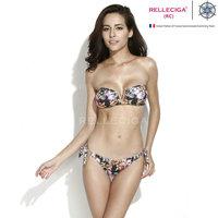B304 Skull Floral Animal Print Gold V Wire Bandeau Top Adjustable Bottom Bikini Set Swimwear Women Biquini Bathing Suit 2014 New
