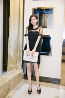 2014 chiffon shirt summer solid color elegant gauze short-sleeve dress long design one-piece dress