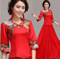 ON Sale Promotion 2014 Red bride slit neckline winter longsleeve winter chinese style wedding dress formal dress new arrival top