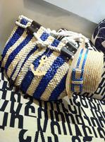 Women's handbag portable beach bag woven bag straw rattan bag navy