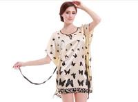 Faux Silk Butterfly Printed Pattern Sleepwear Gown Dress Pajamas Robe Women Nighty Free Shipping & Drop Shipping