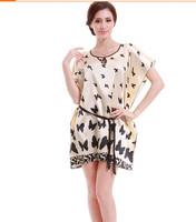 10pcs European American Style Girls Plus Size Sexy Noble Butterfly Pajama/Home Dress/ Silk Satin Bathrobe for Women