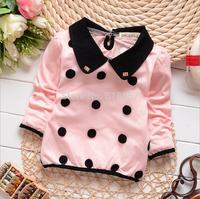 T938 New 2014 autumn 2015 Spring Baby Girl Clothing, Long Sleeve Infant Cotton Dresses, Fashion Dot T Shirt Dress  F15