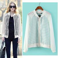2014 New Autumn Women's Trendy Houndstooth Plaid Pattern Crew neck Semi sheer Zipper Jacket Casual Slim Jacket Coat Sunscreen