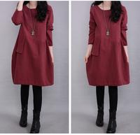 Cotton Linen Maternity Dresses Long-Sleeve Autumn Clothes for Pregnant Women Plus Size 2XL Loose Clothing for Pregnancy 1353