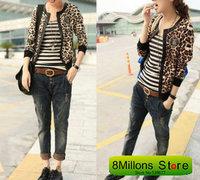 Leopard grain small coat jacket style leopard spell leather jacket SDR# 21