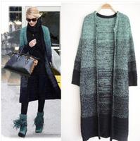 9520 Winter Women gradual blending new big yards long knitted sweater coat joker