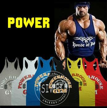Hot Summer Power Gym marca collants musculares mangas impressa do ouro corpo esporte colete musculação singlet homens treino de Fitness de(China (Mainland))
