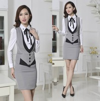 New 2014 Novelty Grey Spring Autumn Formal Work Wear Women's Suits with Skirt Elegant Ladies Office Female Beautician Uniforms