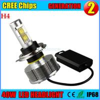 Up-grade h4 40W CREE LED Headlight Conversion Car Kit H4 hi lo spot beam /flood beam 2400LM 12V 6500K h4 cree led