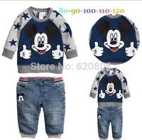 220528 baby boys autumn cartoon suits mickey sweatshirt +trousers kids casual hoodies set children clothing sets