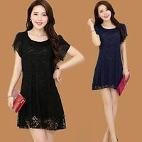 Summer short-sleeve mm plus size plus size one-piece dress lace cutout medium-long basic skirt short skirt