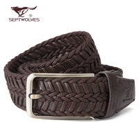 Free shipping handmade knitted SEPTWOLVES male strap fashion pin buckle genuine leather belt