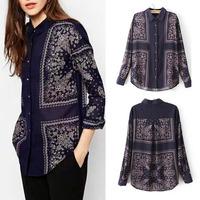2014 New Autumn Women Vintage Ethnic Position Paisley Floral Print Lapel Long Sleeve Loose Cotton Shirts Blouse Tops