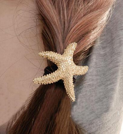 nt16 European and American jewelry fashion street shoot metallic gold starfish hair ring hair rope rope(China (Mainland))