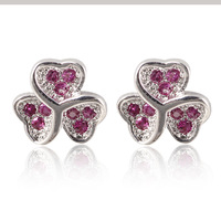 Lovely lady clear black red  AAA+ Swiss CZ diamond tri heart Clover Stud Earrings Real Platinum Plated crystal Earrings for girl