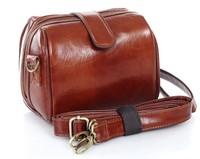 korean Style Women's Fashion Cute Brown Vintage Stylish PU Leather Camera Shoulder Strap Zipper Bag Free Shipping