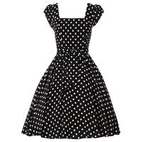 3 Colors Women Summer Autumn Fashion vintage square collar polka dot fancy short-sleeve tent one-piece dress vestido de festa