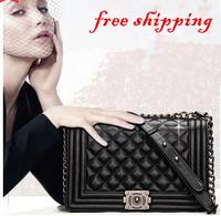 Small c women's genuine leather handbag dimond plaid chain bag small sachet female bag shoulder bag messenger bag small