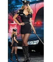 Sexy Womens Policewomen Costume Adult Ladies Black Short Sleeves Mini Dresses Halloween Party Fantasia Fancy Dress Up Outfit New
