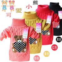 new Autumn&Winter children unisex sweater, boy&girl kids cartoon bear thermal knitted sweater warm slim turtleneck sweater 2014