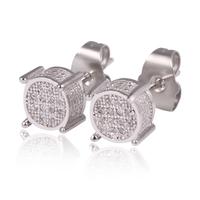 Women men unisex White Gold Round Cut Prong CZ Diamond Cluster Stud Earrings