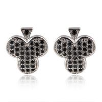 Mens & womens cluster AAA+ Swiss CZ  diamond Club Stud Earrings Real Platinum Plated crystal poker party Earrings