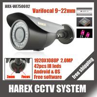 1920*1080P 2.0MP with 2MP  9~22mm Varifocal zoom lens IP Camera 42 IR leds ONVIF Waterproof IR CUT Plug and Play, free shipping
