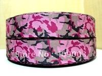 10Y1676kerryribbon free shipping 7/8 '' pink camo printed ribbon Grosgrain ribbon