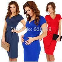 2014 women's fashion slim hip V-neck sexy maternity elastic one-piece dress