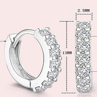 Free shipping Wholesale 925  Sterling Silver Simulated Diamond Zirconia Hoop Earrings for women 2014 new women wedding jewelry